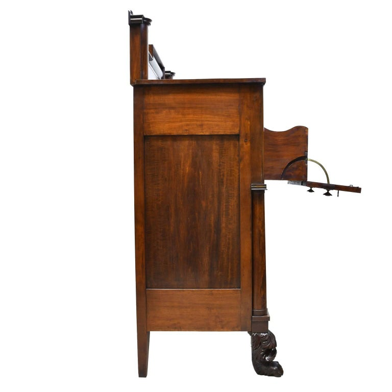 American Rhode Island Empire Butler's Chest of Drawers with Desk in Mahogany, circa 1825 For Sale