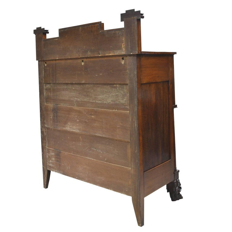 Rhode Island Empire Butler's Chest of Drawers with Desk in Mahogany, circa 1825 In Good Condition For Sale In Miami, FL