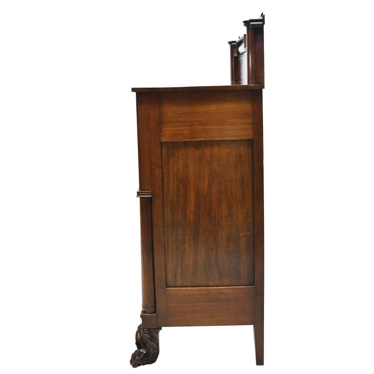 Hand-Carved Rhode Island Empire Butler's Chest of Drawers with Desk in Mahogany, circa 1825 For Sale