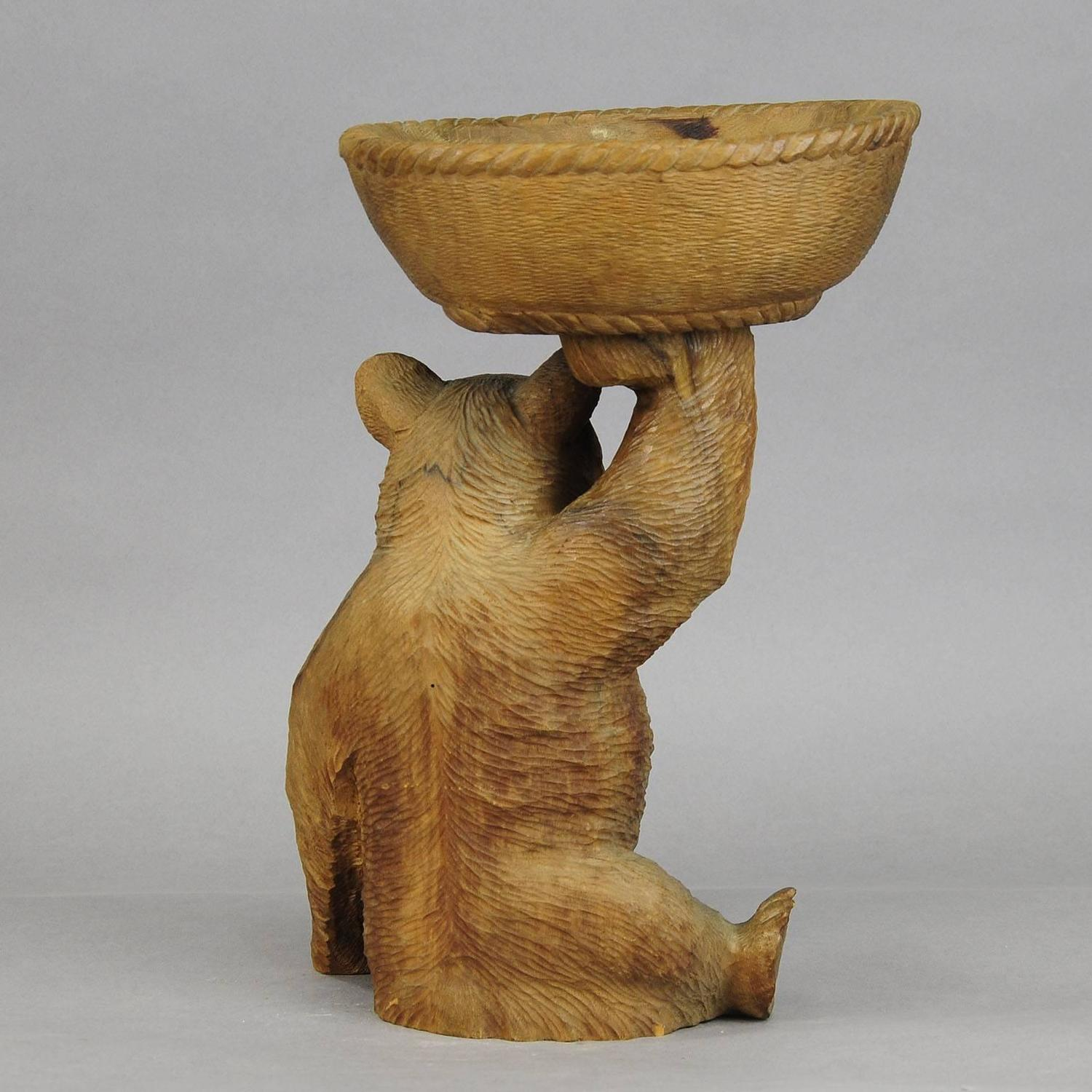 Wooden Carved Bear With Bowl Brienz 1920 For Sale At 1stdibs