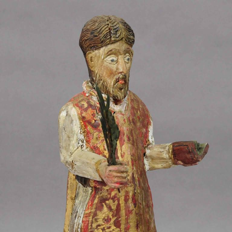 Balkan Wooden Carved Sculpture of a Saint, circa 1850 For Sale