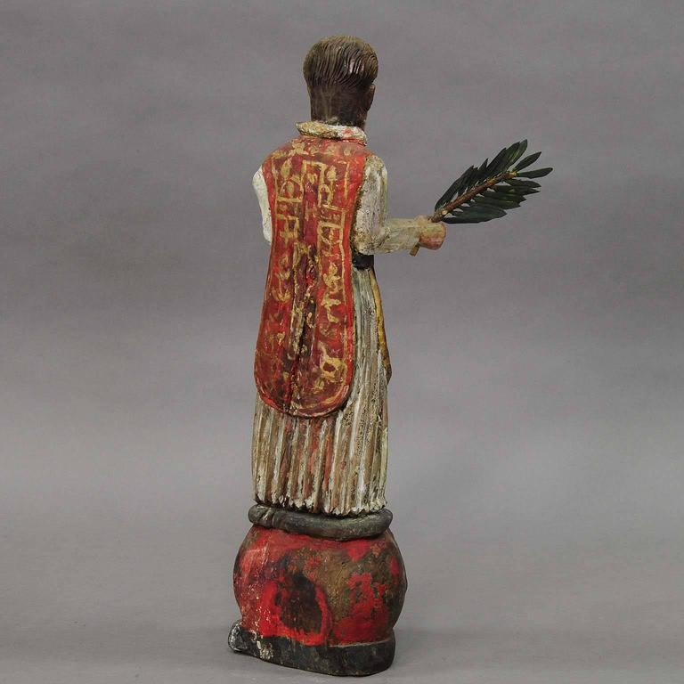 Wooden Carved Sculpture of a Saint, circa 1850 In Good Condition For Sale In Berghuelen, DE