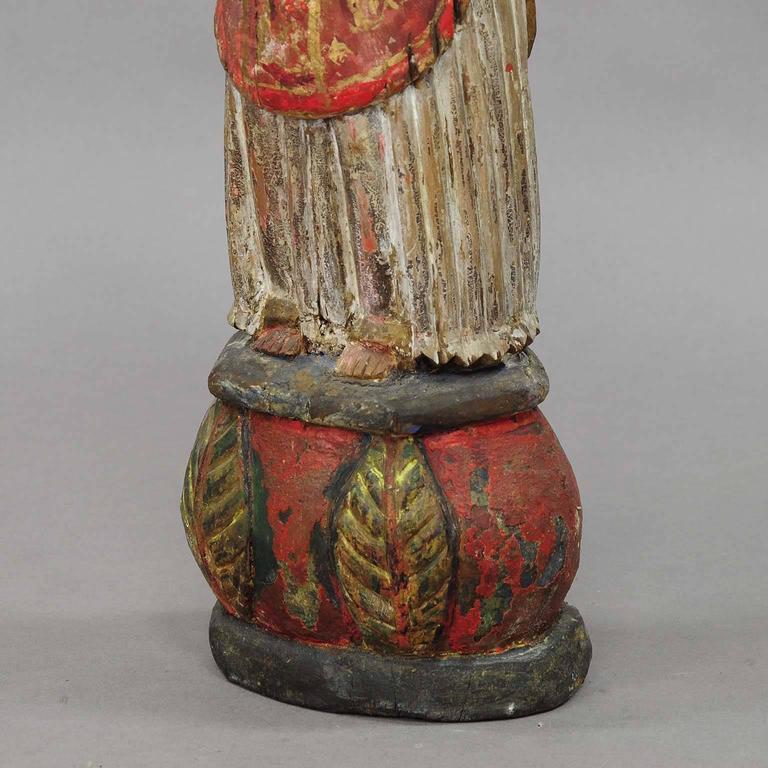 Folk Art Wooden Carved Sculpture of a Saint, circa 1850 For Sale