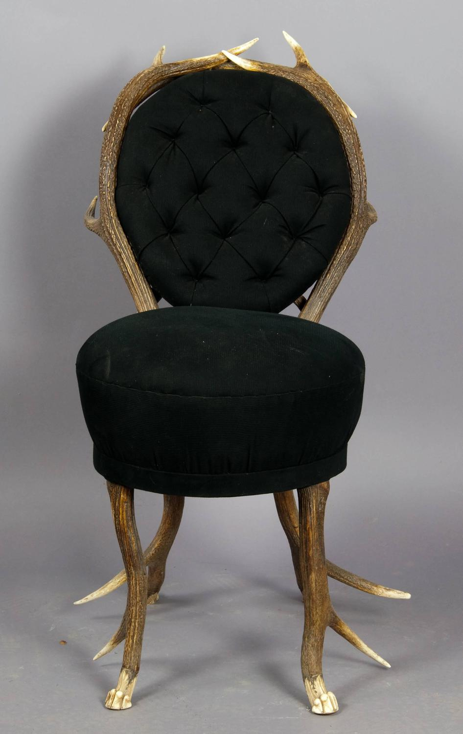 pair of rare antler parlor chairs french circa 1860 for sale at 1stdibs. Black Bedroom Furniture Sets. Home Design Ideas