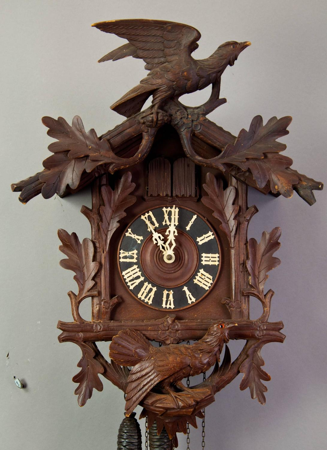 Black Forest Carved Wood Cuckoo Clock With Birds For Sale