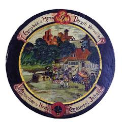 Folksy Hand-Painted Shooting Target with Village Live Scene