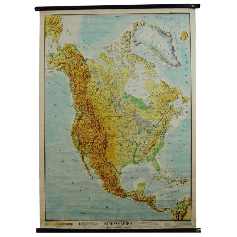 Vintage School Wall Chart of North America, circa 1950s