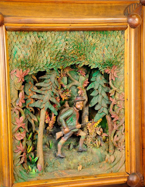 German Antique Black Forest Carved Wood Poacher Diorama For Sale