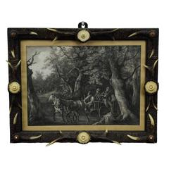 Rare Antique Antler Picture Frame with Print, circa 1900