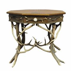Elaborately Crafted Octagonal Antler Table, circa 1900