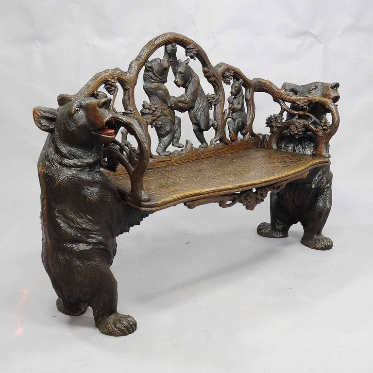 Antique Carved Wood Bear Bench Swiss Brienz Circa 1900