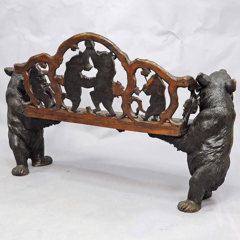 Antique carved wood bear bench swiss brienz circa