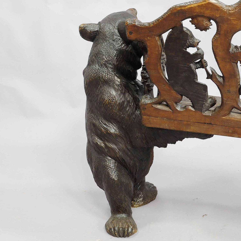 Antique Carved Wood Bear Bench Swiss Brienz Circa 1900
