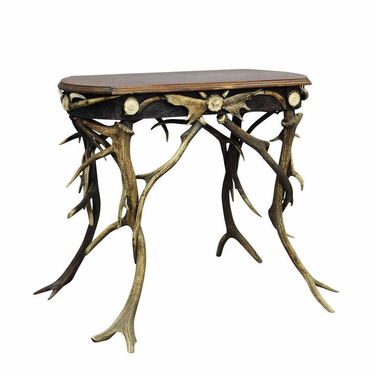 Small Antler Side Table With Great Decorations, Circa 1890