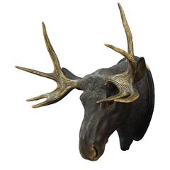 Livesize Plaster Elk Head with Real Antlers