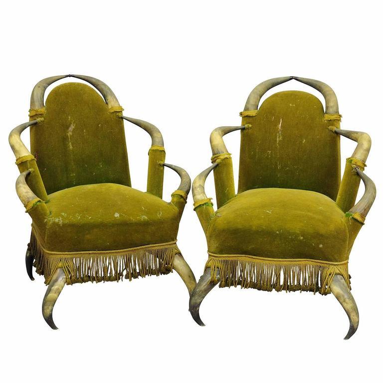 Pair of Antique Bull Horn Chairs, Austria, 1870