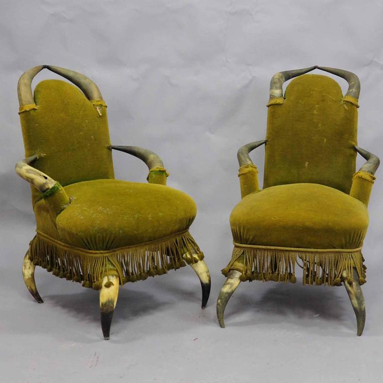 A set of four antique bull Horn chairs, circa 1870, covered with antique green velvet which has to be renewed (is loosing the hairs). Manufactured in Austria, circa 1870.