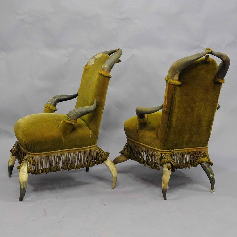 Four Antique Bull Horn Chairs, circa 1870 In Good Condition For Sale In Berghuelen, DE