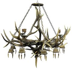 Enormous Antique Antler Chandelier with 12 Spouts, circa 1880s