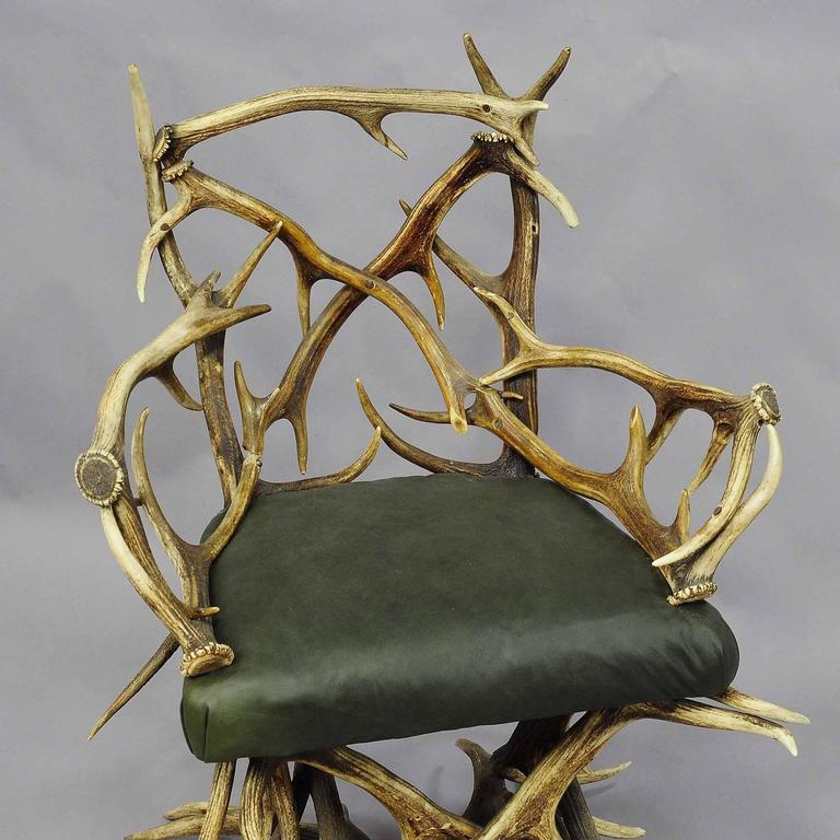 Black Forest Antique Rustic Antler Chair, Circa 1880 For Sale