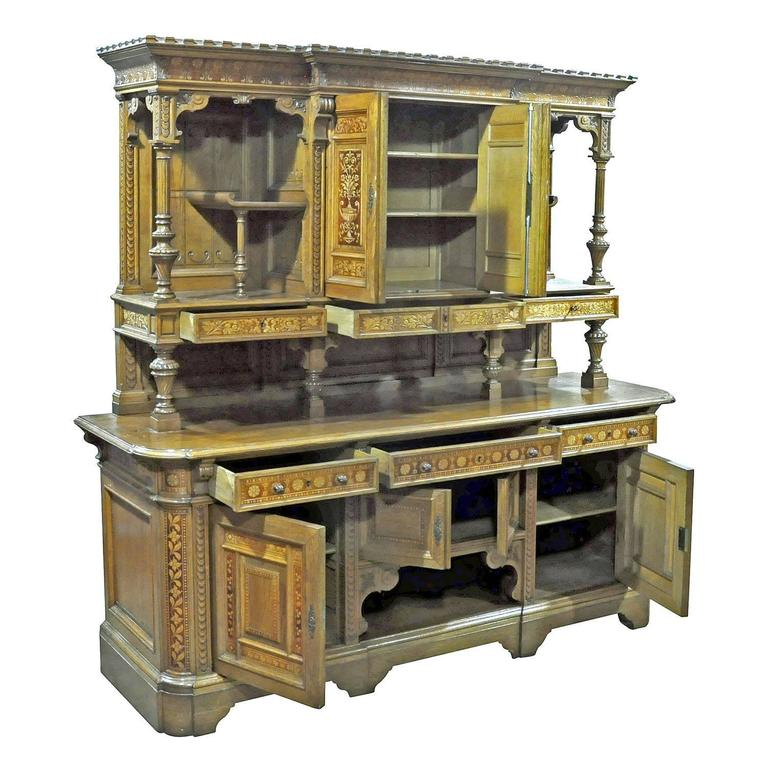 Wood Large Sideboard by Bernhard Ludwig, Vienna, circa 1900 For Sale