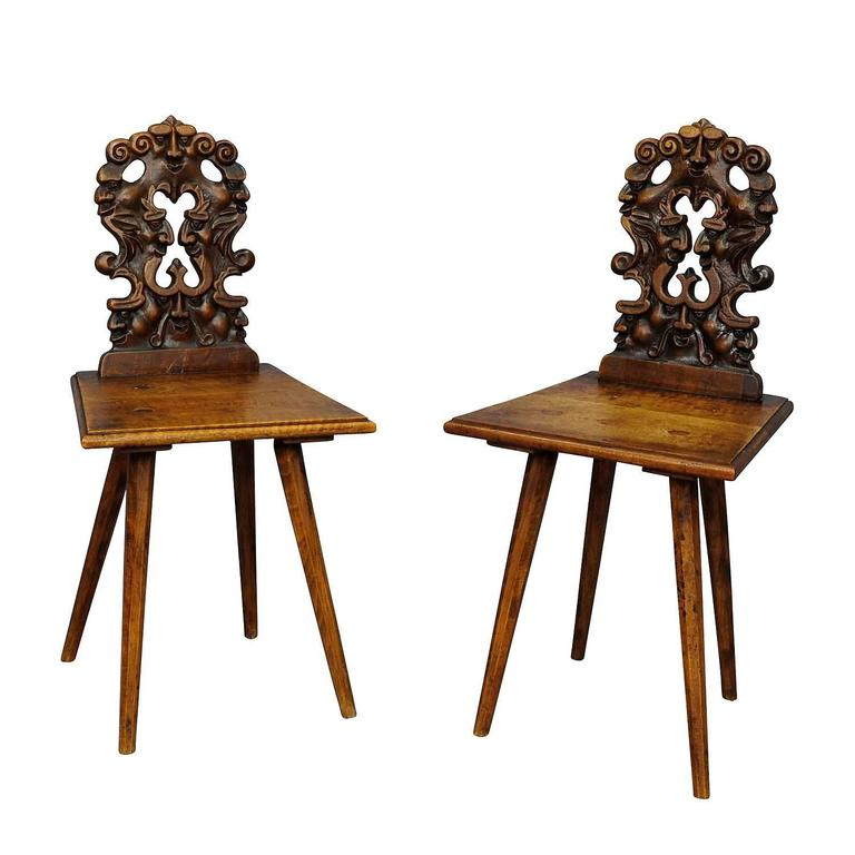 Pair Renaissance Style Carved Children Chairs, circa 1890