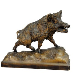 Vintage Wooden Carved Wild Boar