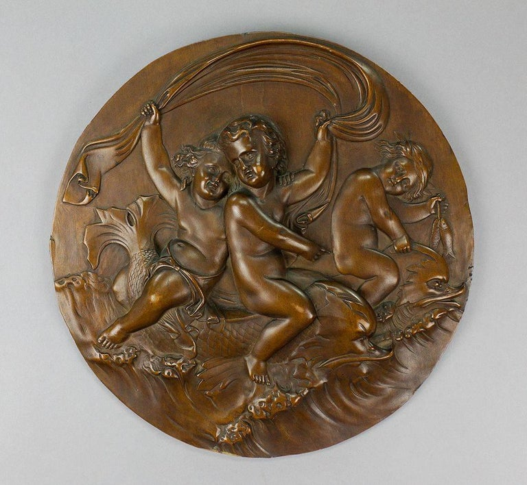 Victorian Pair of Elaborate Carved Nutwood Plaques with Putti For Sale