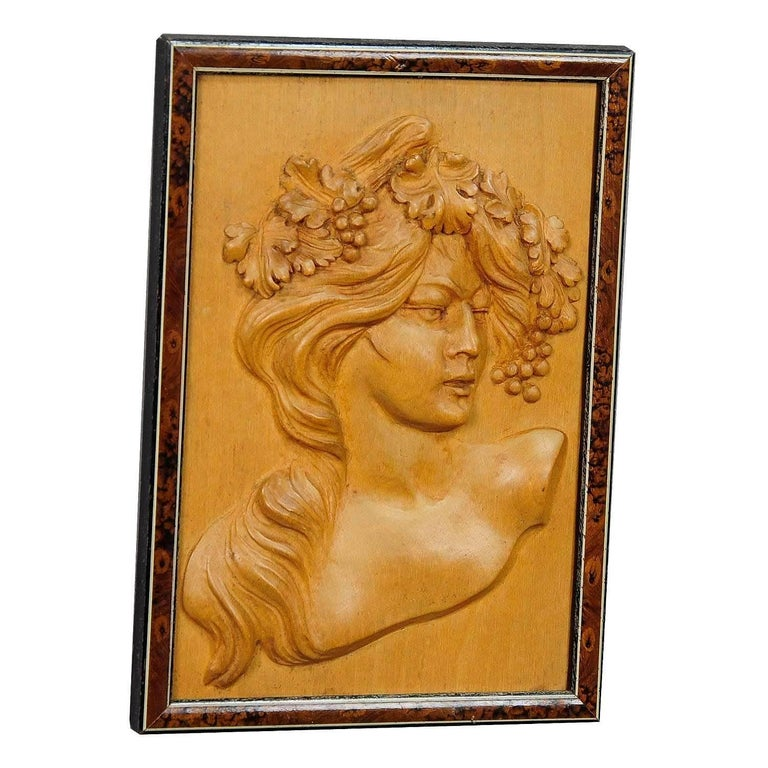 Wooden Carved Victorian Lady Wall Plaque, circa 1920 For Sale