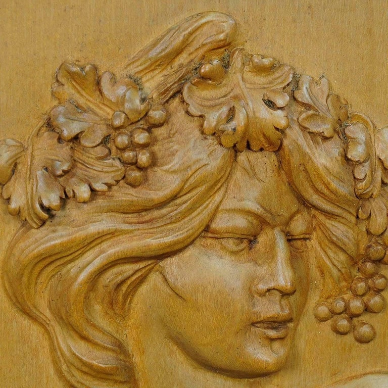 German Wooden Carved Victorian Lady Wall Plaque, circa 1920 For Sale