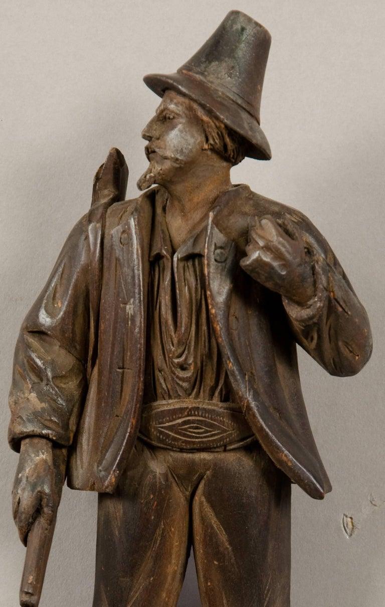 Swiss Black Forest Carved Wood Hunter Whip Holder, 1890 For Sale