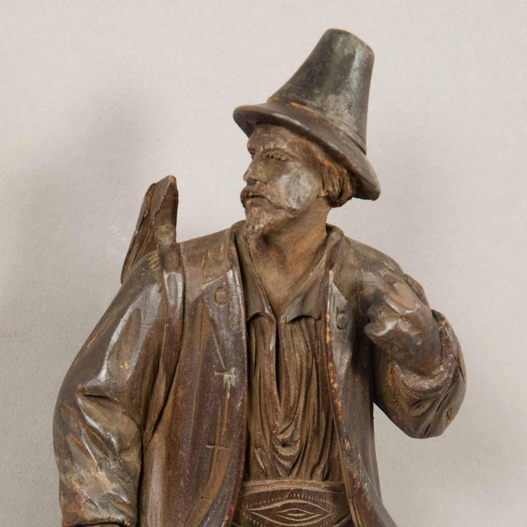 Black Forest Carved Wood Hunter Whip Holder, 1890 In Excellent Condition For Sale In Berghuelen, DE