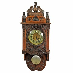 Antique Wooden Carved Wall Clock Black Forest