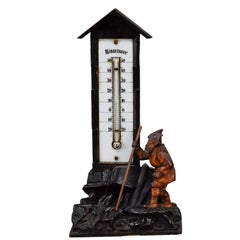 Antique Black Forest Thermometer with Carved Dwarf