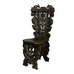 Great Renaissance Style Carved Board Chair, circa 1860