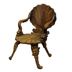 Antique Wooden Carved Grotto Armchair, circa 1880
