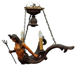 Great Wooden Carved Mermaid Lusterweibchen