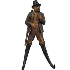 Black Forest Carved Hunter Whip Holder or Coat Rack