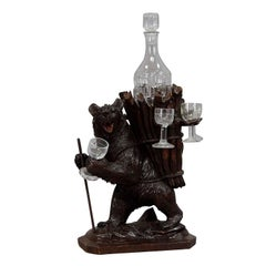 Whimsy Wooden Carved Bear Decanter Stand Swiss Brienz, 1900