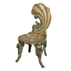 Rare Antique Venetian Carved Grotto Chair, circa 1880