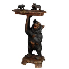Black Forest Carved Smoking Side Table with Bears
