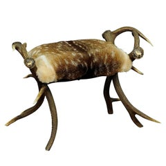 Antique Antler Stool with Fallow Deer Fur, Germany, circa 1870