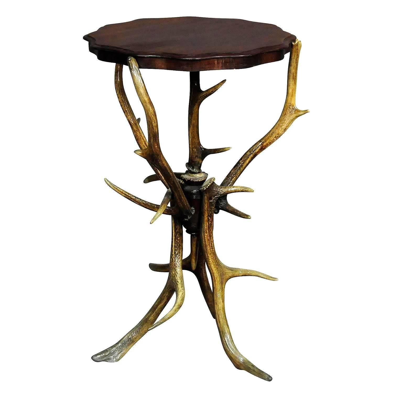 Black Forest Rustic Antler Side Table, Circa 1900