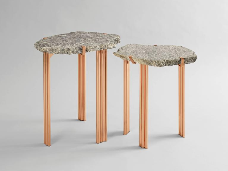 French 'Pathway' Set of Two Tables with Rare Hard Stones by Taher Chemirik  For Sale