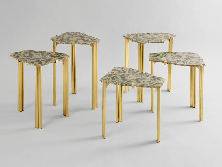 French 'Pathway' Set of Five Tables with Rare Hard Stones by Taher Chemirik  For Sale
