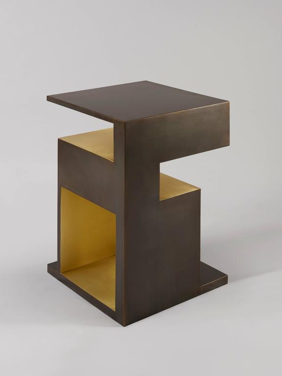 Brushed 'XiangSheng II Side Table', an Elegant Bronze Table by Studio MVW - In Stock For Sale
