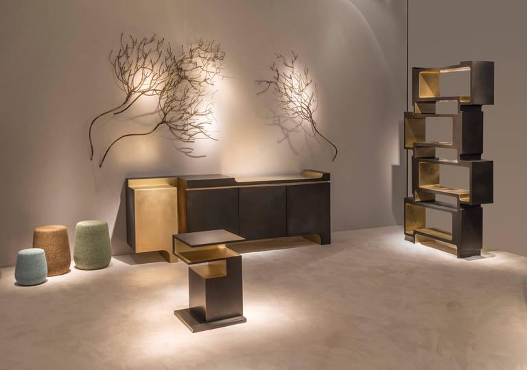 Brushed 'Xiangsheng II Shelving Unit', a Modular Bronze Bookcase and Room Divider For Sale