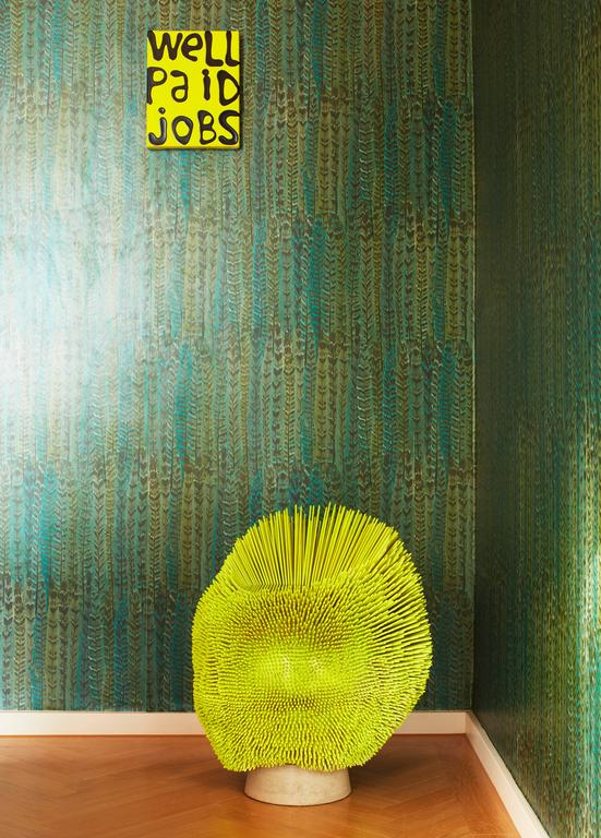 Contemporary Bright Yellow 'Sea Anemone' Side Table by Pia Maria Raeder   For Sale