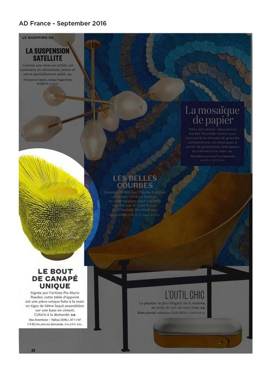 Bright Yellow 'Sea Anemone' Side Table by Pia Maria Raeder   For Sale 1