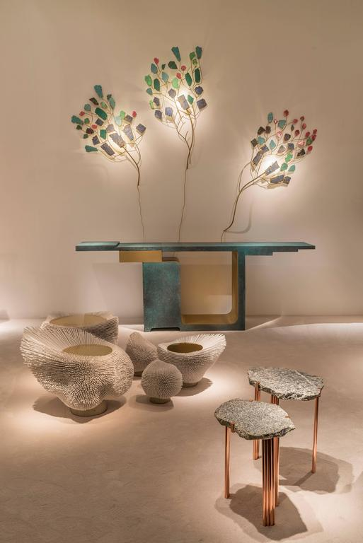 'Pathway' Set of Two Tables with Rare Hard Stones by Taher Chemirik  In New Condition For Sale In Paris, FR